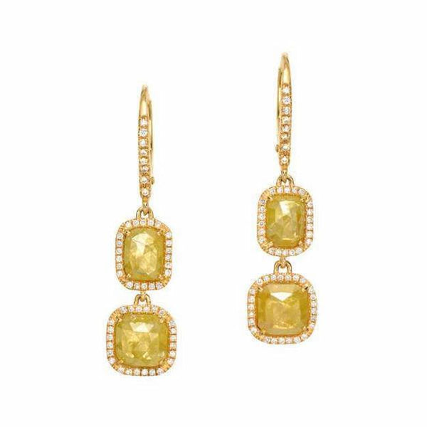 one of a kind rustic diamond double dangle earrings in yellow gold
