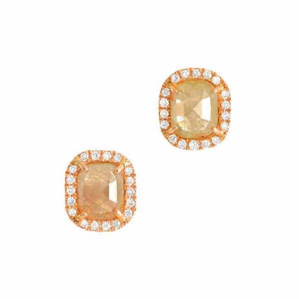 Rose Gold Rustic Diamond Post Earrings