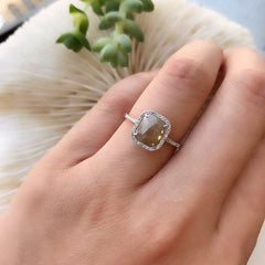 One of a Kind Rustic Diamond Ring in White Gold