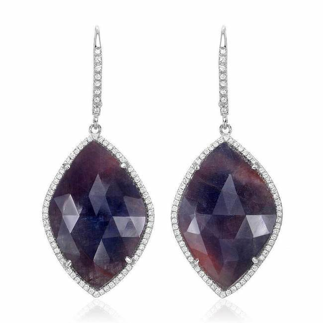 one of a kind sapphire drop earrings with diamonds in white gold