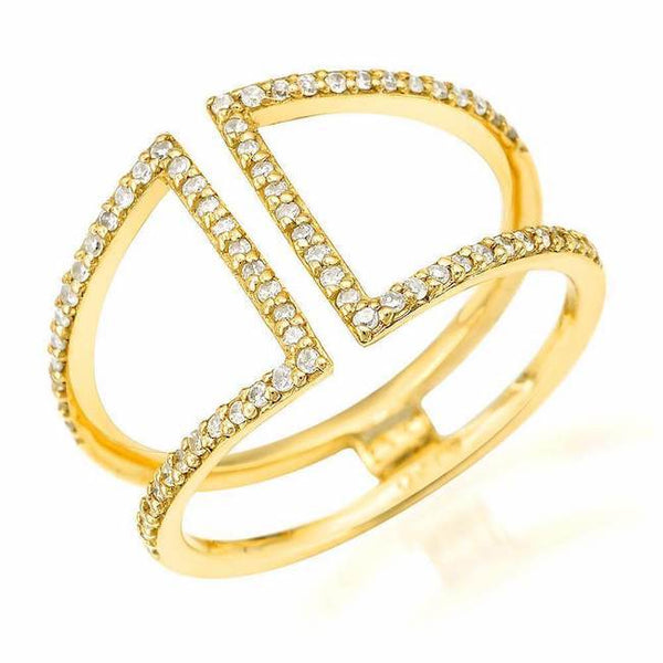 short cuff ring with diamonds in yellow gold