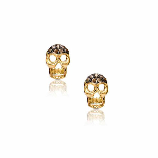 skull posts in yellow gold with black rhodium