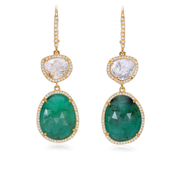 One of a Kind Diamond Slice and Emerald Drop Earrings