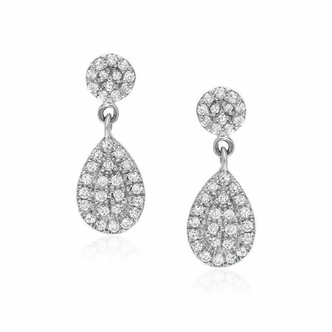 small disc and pear pave post earrings in white gold