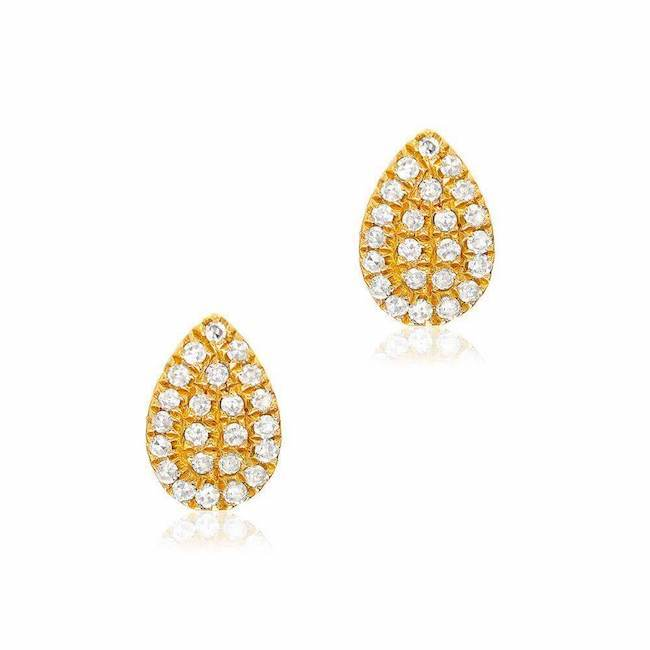 small pear shape pave post earrings with diamonds in yellow gold