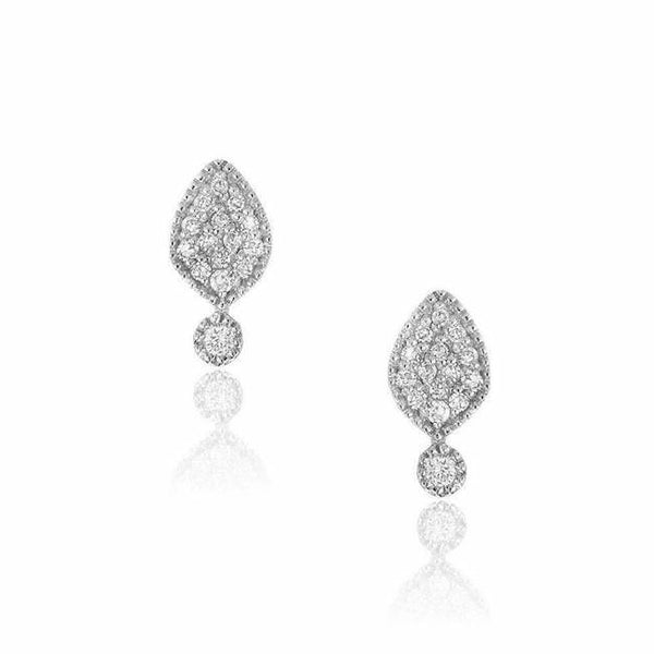small spade earrings in white gold