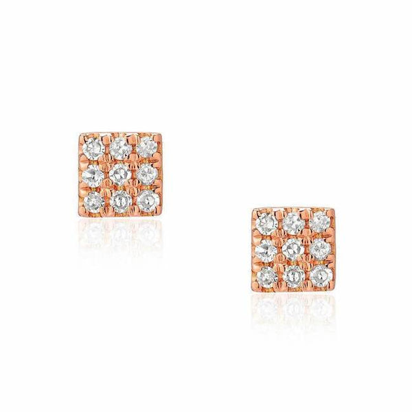 small square post earrings in rose gold