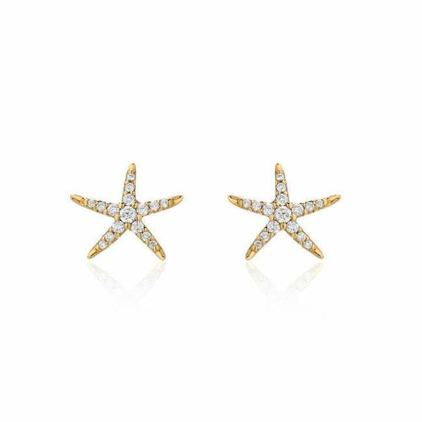 7f3e17f1b petite starfish post earrings in yellow gold with diamonds