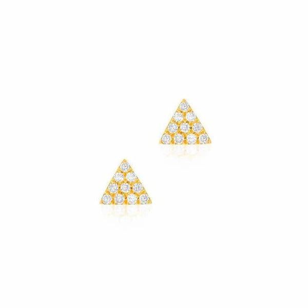mini triangle pave post earrings with diamonds in yellow gold
