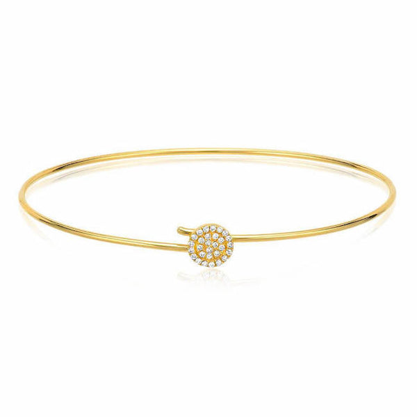 round pave hook bangle with diamonds in yellow gold