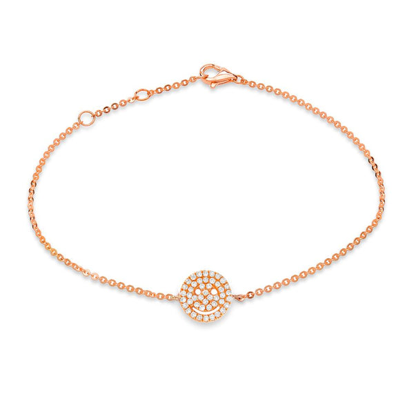 smiley face pave bracelet with diamonds in 14k rose gold