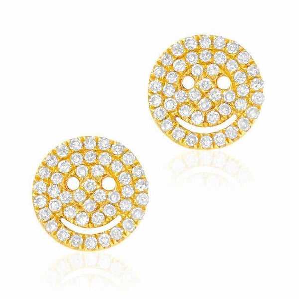 Smiley Face Pave Post Earrings