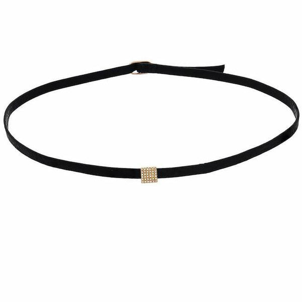 square thin choker in yellow gold