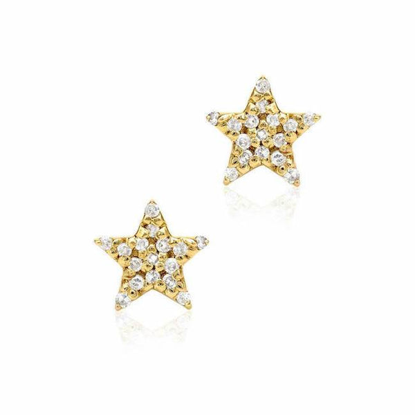 Star pave post earrings in yellow gold