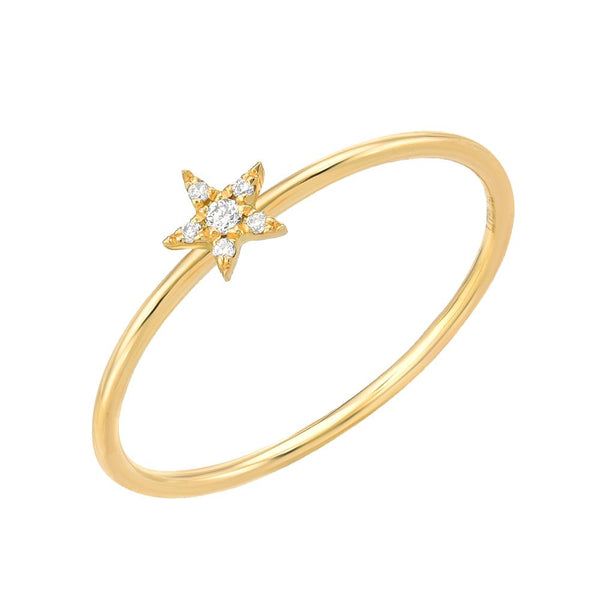petite diamond star stackable ring in 14k yellow gold
