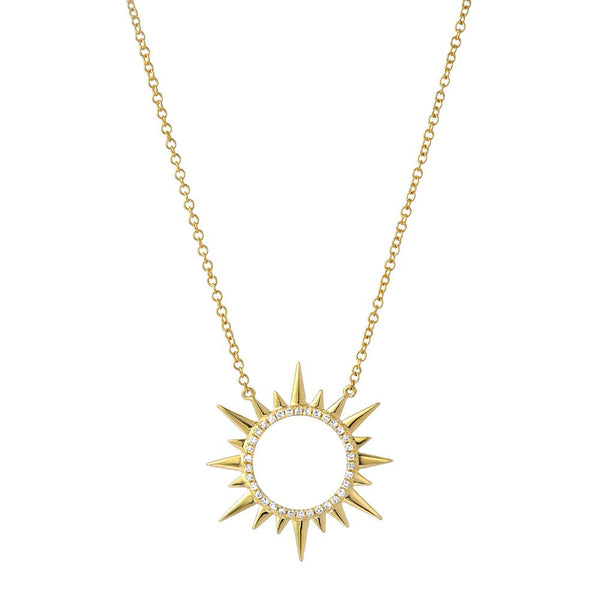 circle sunburst necklace with diamonds in 14k yellow gold