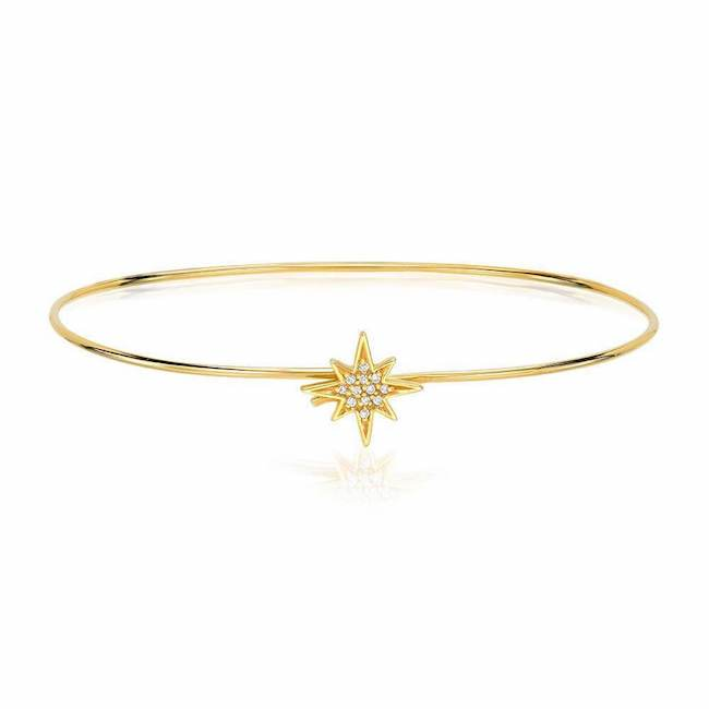 starburst hook bangle with diamonds in yellow gold