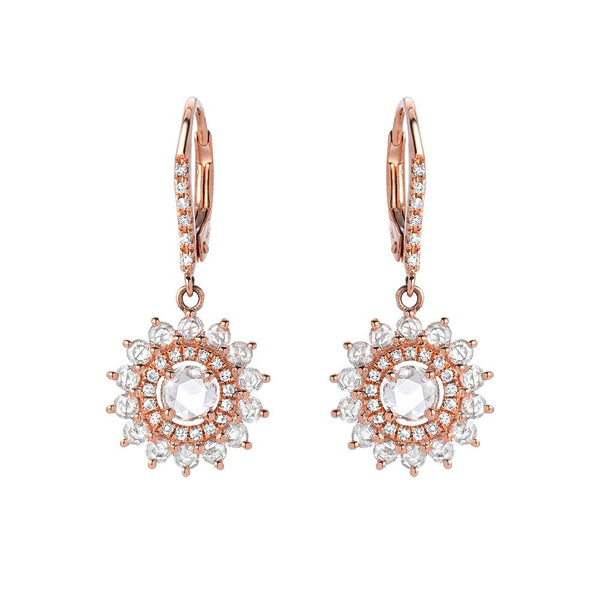 lumina rose cut double halo leverback earrings in rose gold