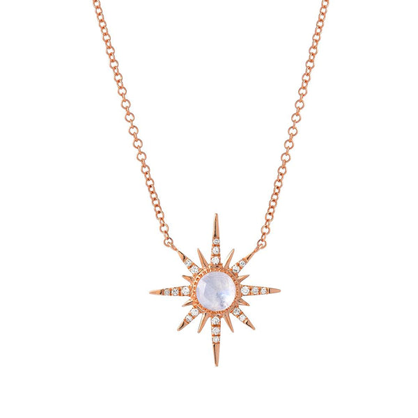 Starburst Rainbow Moonstone & Diamond Necklace