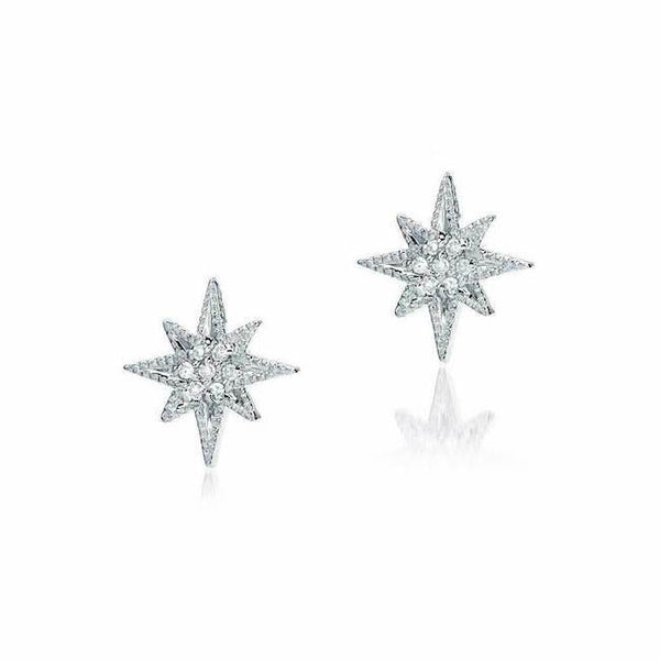 medium starburst post earrings with diamonds in white gold