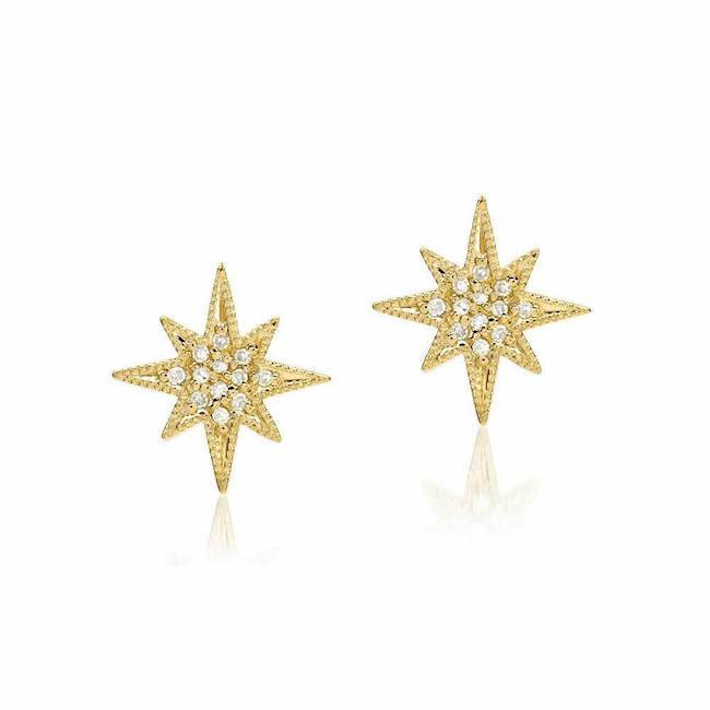 large starburst post earrings with diamonds in yellow gold
