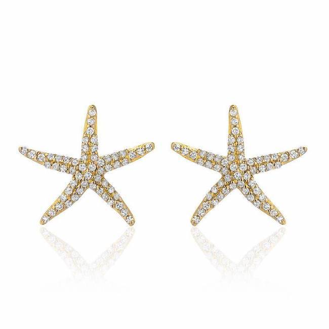 starfish post earrings in yellow gold with diamonds