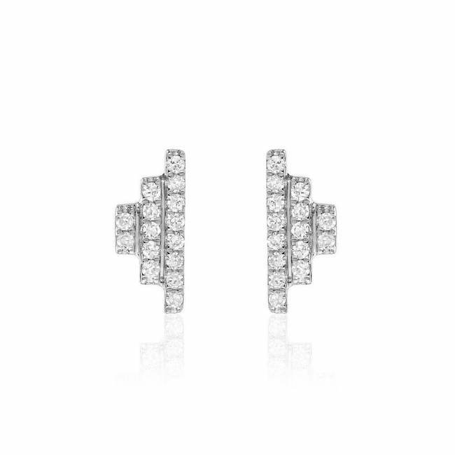step diamond post earrings in white gold