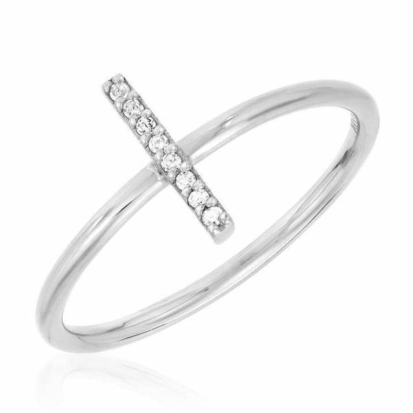 stick ring with diamonds in white gold