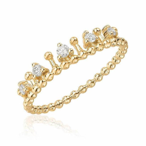 tiara beaded band in yellow gold