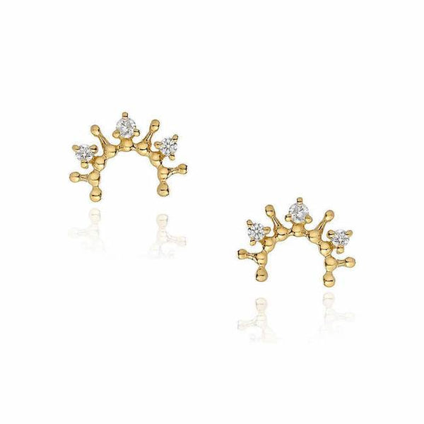 tiara semicircle post earrings in yellow gold with diamonds