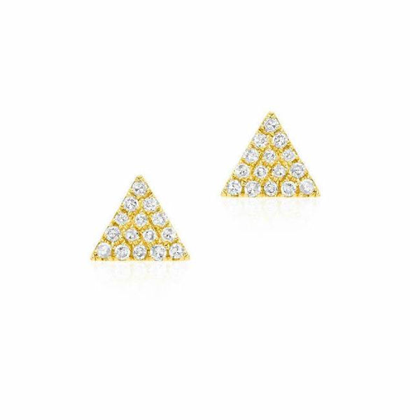 Triangle Pave Post Earrings in yellow gold
