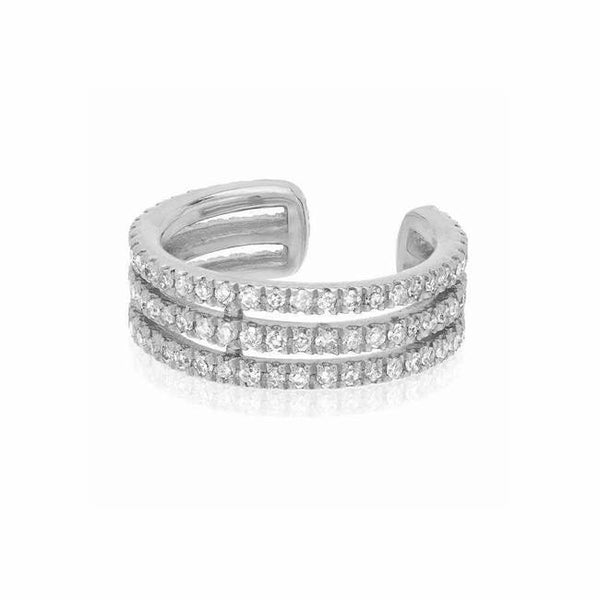 triple row ear cuff with diamonds in white gold