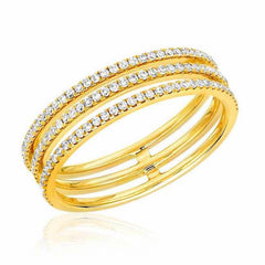 triple row ring with diamonds in yellow gold
