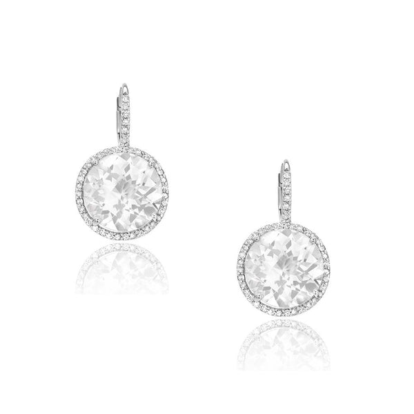 round white topaz earrings with diamond leverbacks