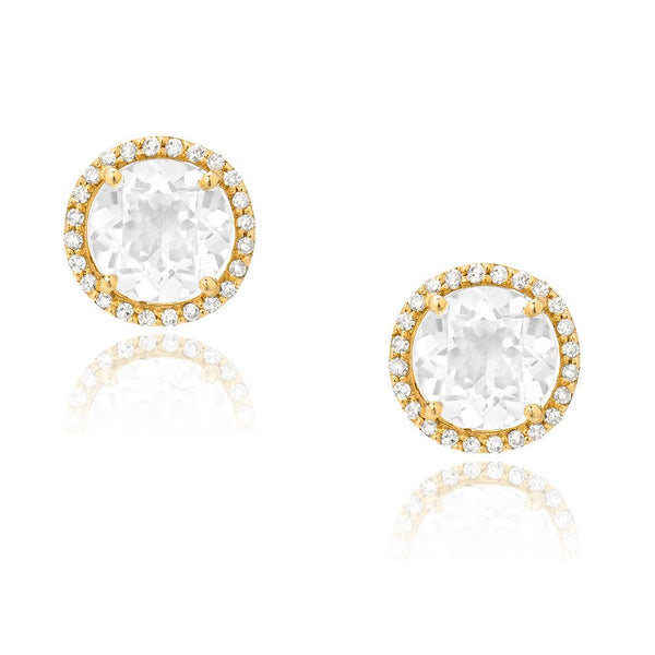 White Topaz stud Earrings in yellow gold