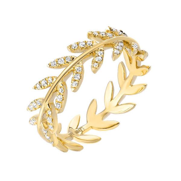 wreath band with diamonds in 14k yellow gold