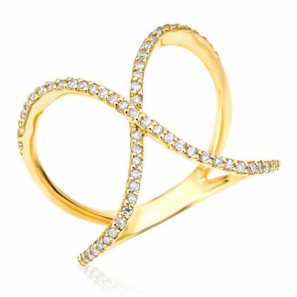 x ring with diamonds in yellow gold