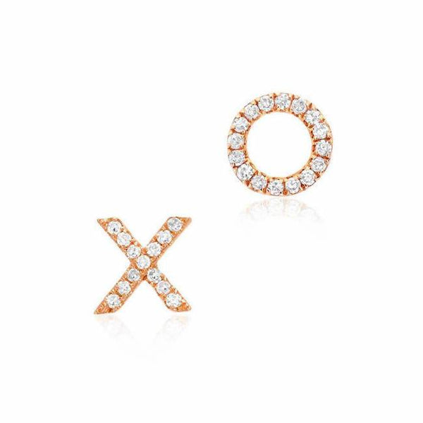 xo post earrings with diamonds in rose gold