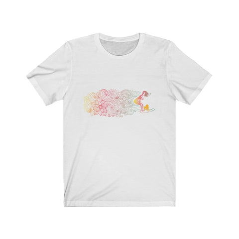 Flowers + Surf + Dogs = Perfect Unisex Short Sleeve Tee