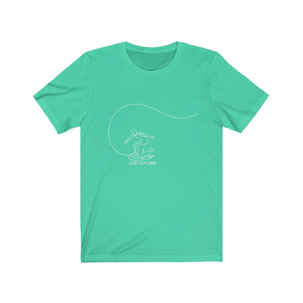 Surf Dog Dad Line Art - Unisex Jersey Short Sleeve Tee