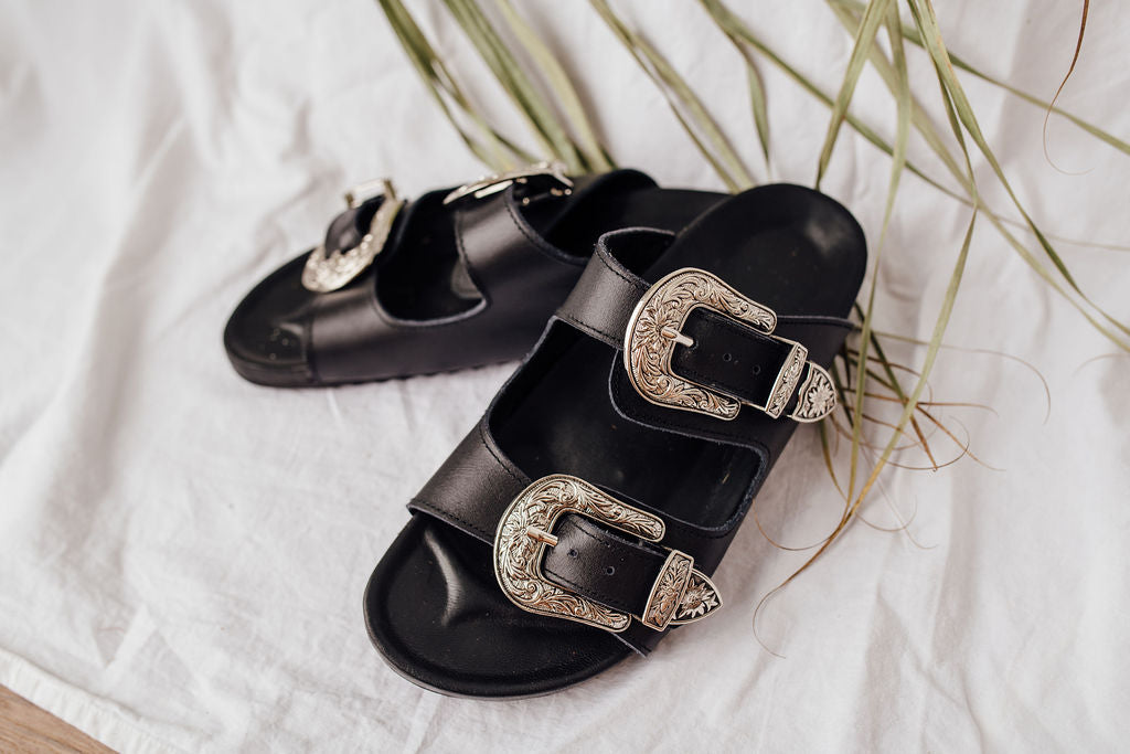 Buckle Leather Slides