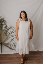 Load image into Gallery viewer, Macy tie up midi dress white broderie anglaise