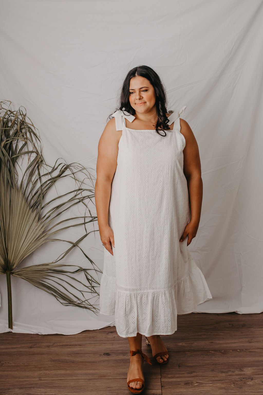 Macy tie up midi dress white broderie anglaise