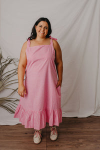Majella Tie up midi dress pink gingham