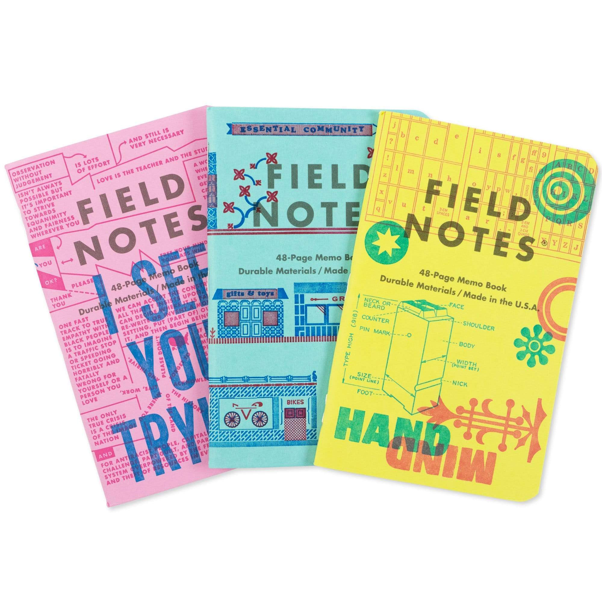 Field Notes Notizbücher 3-PACK C United States of Letterpress (3er Pack C)