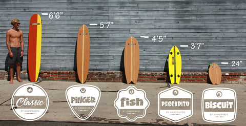 Hamboards sizes for Classic, Pinger, Fish, Pescadito, and the Biscuit