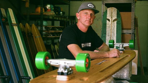 Pete Hamborg at the shop making history in surf skate culture