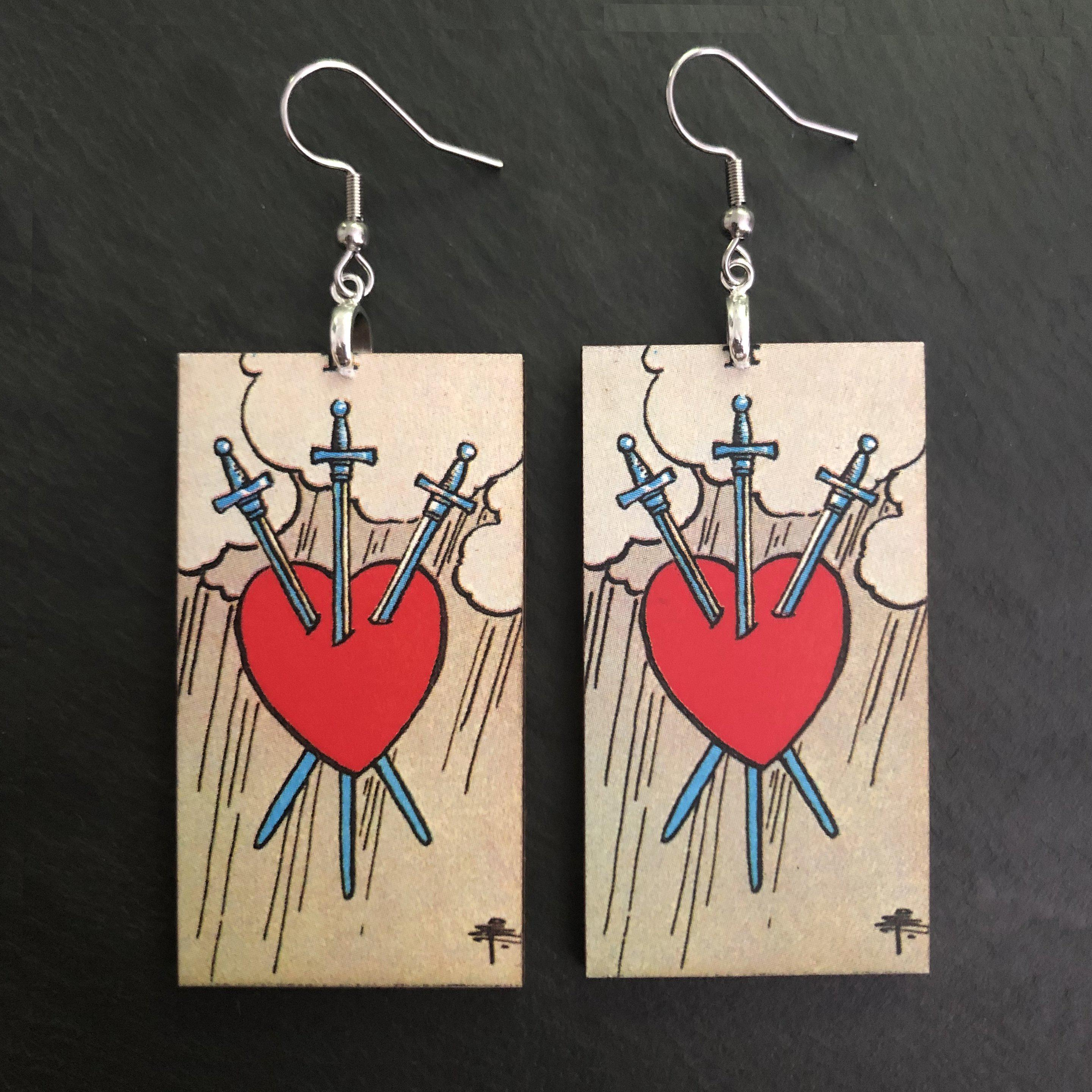Three of Swords - Tarot Card Earrings