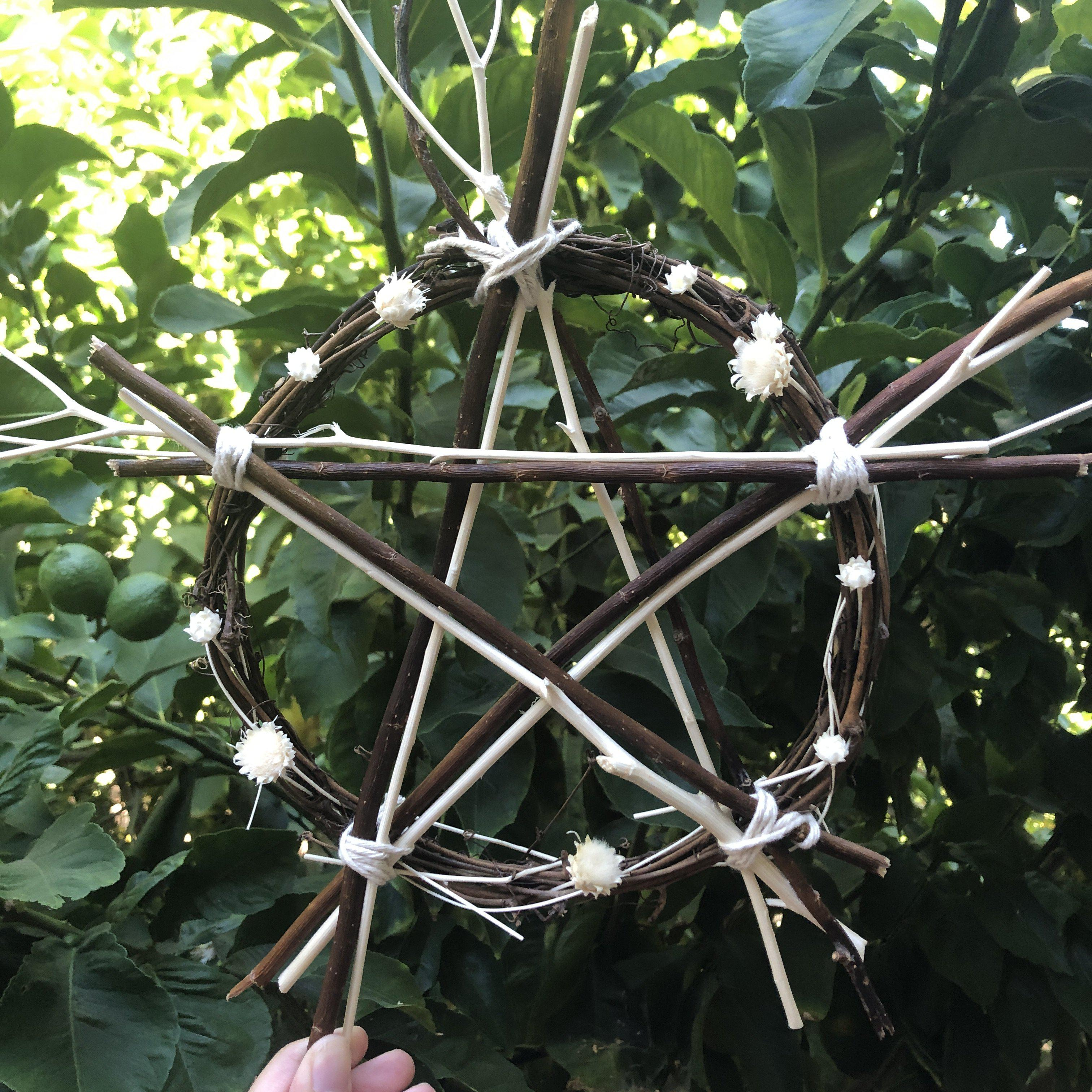 Green Witch Wooden Pentacle - Large
