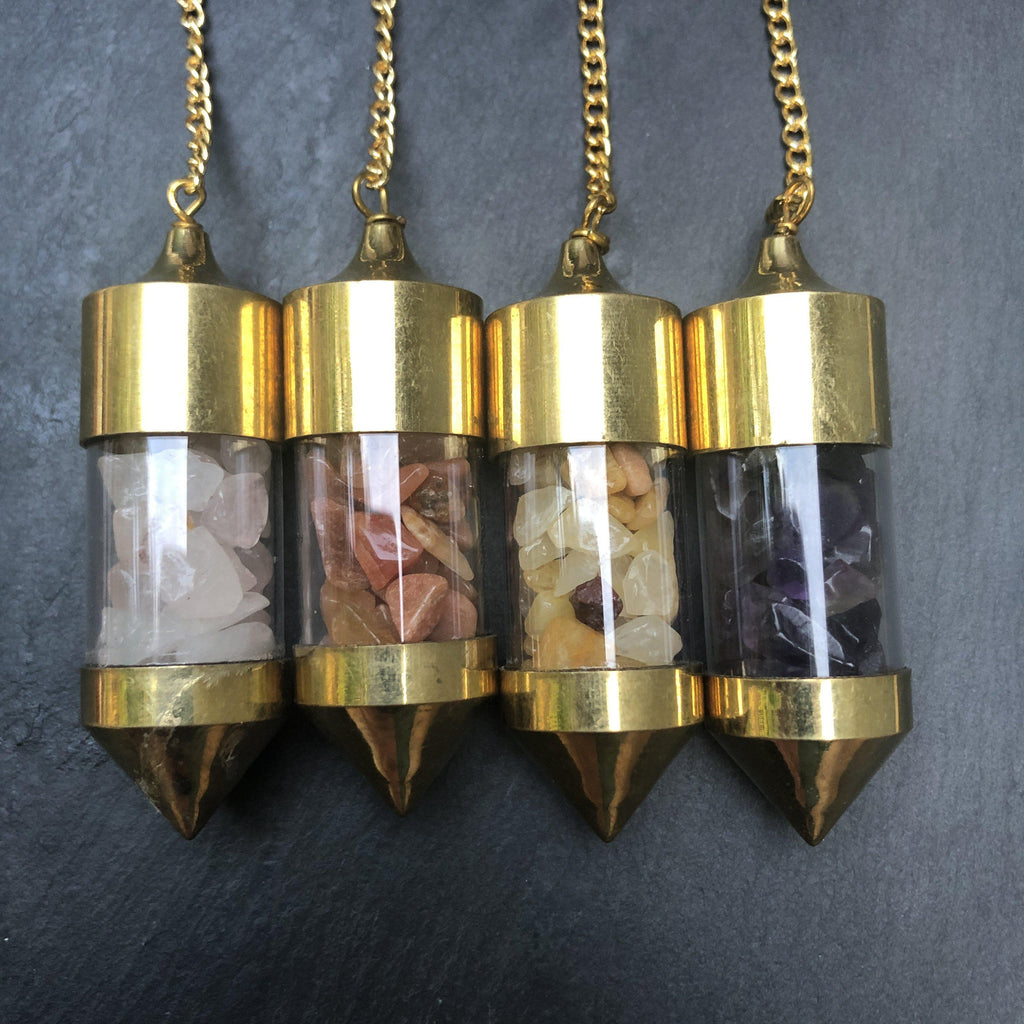 Natural Crystal Pendulum filled in Glass Bullet - Choose your Crystal